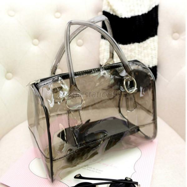 Cute Jelly Woman Clear Transparent Bucket Bag PVC 2in1 Fashion ...