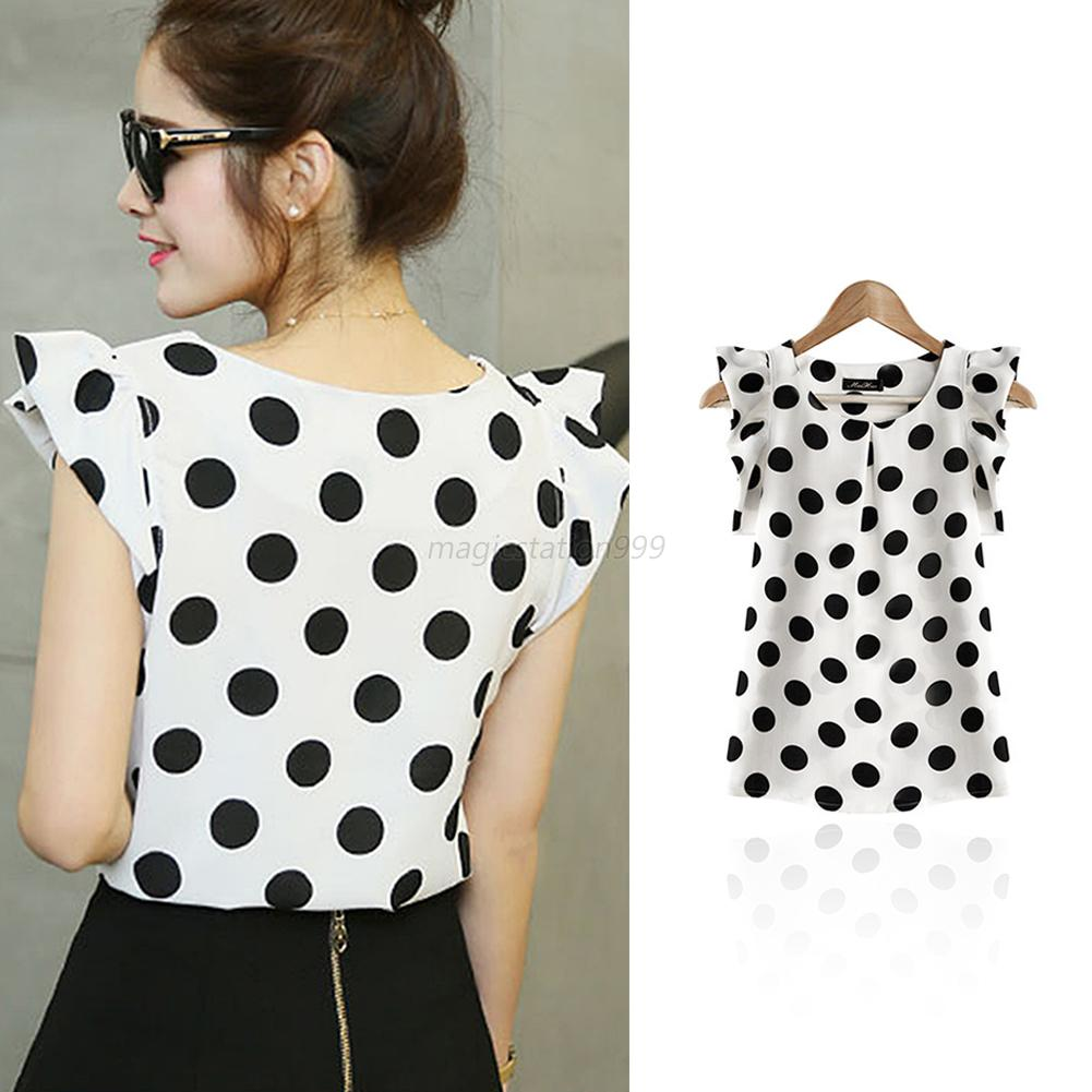 Us Women Chic Polka Dot Blouse Lady Short Sleeve Casual Chiffon
