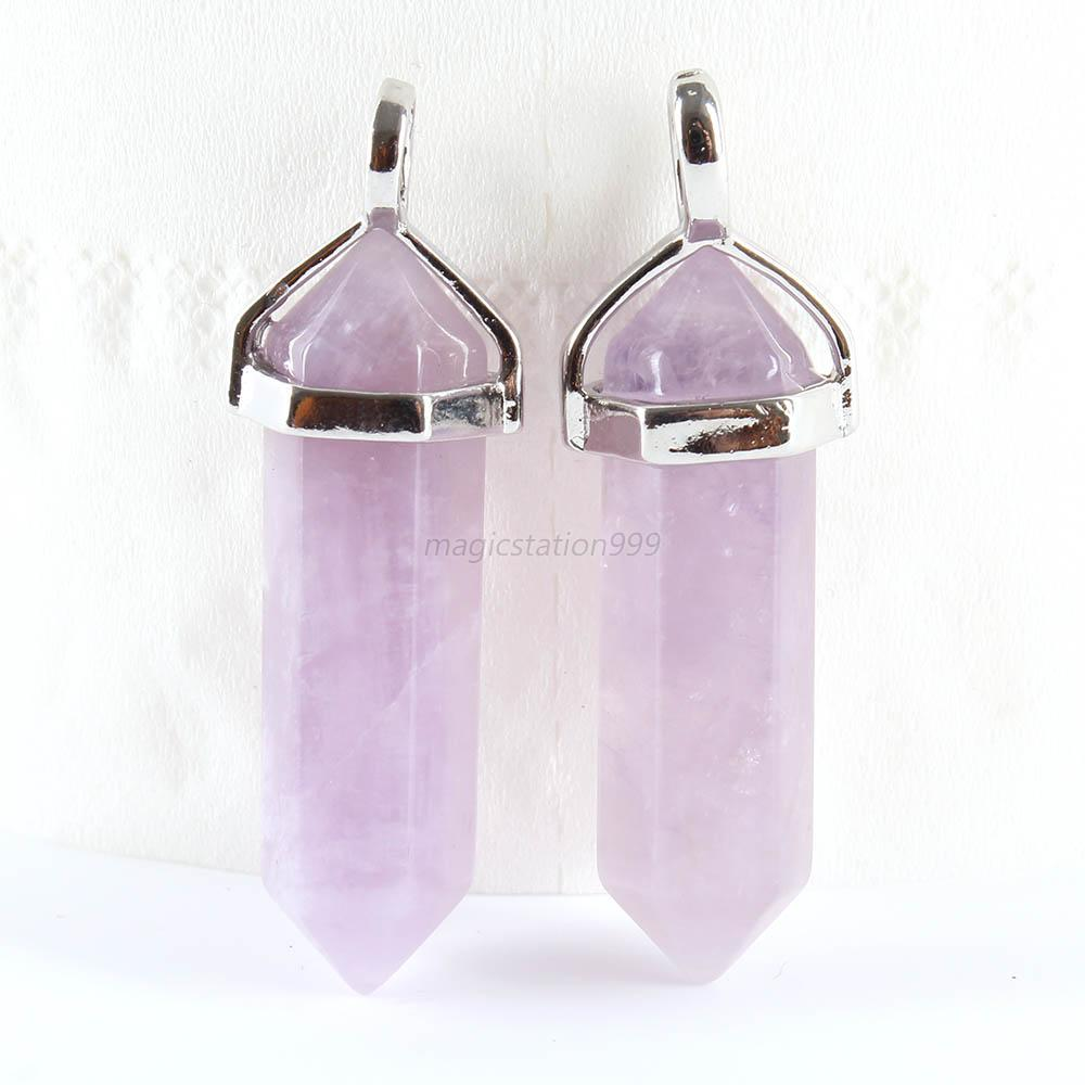 crystal pendant products natural chain hexagonal necklace tomtosh leather stone purple bdee fluorescent