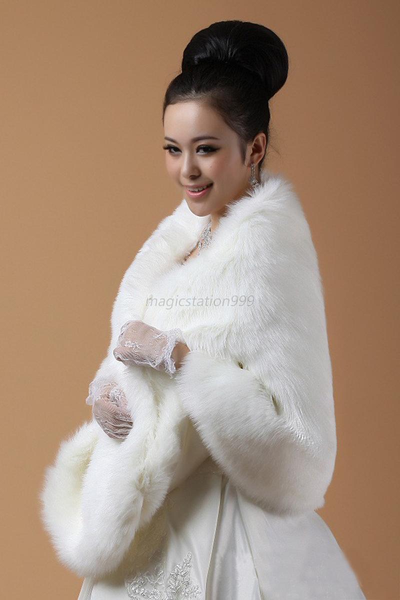 New white ivory faux fur jacket wrap shrug bolero shawl for Fur shrug for wedding dress