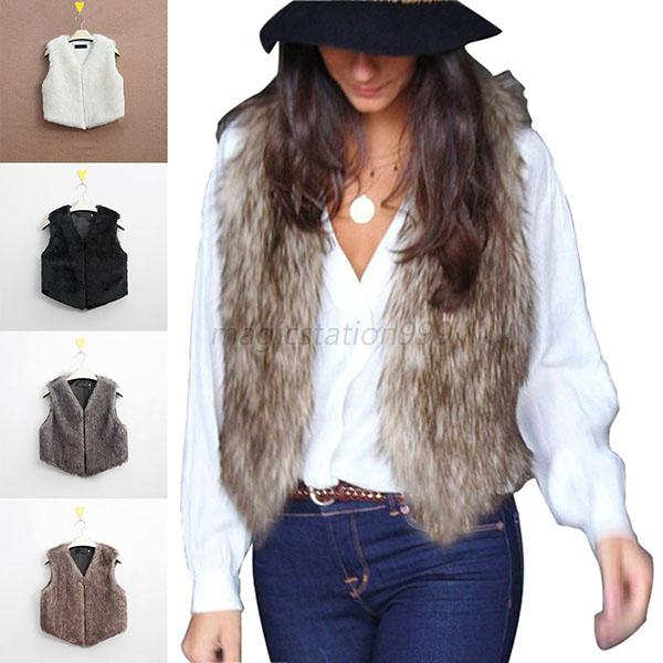 Winter Womens Faux Fur Waistcoat Gilet Jacket Coat Sleeveless ...