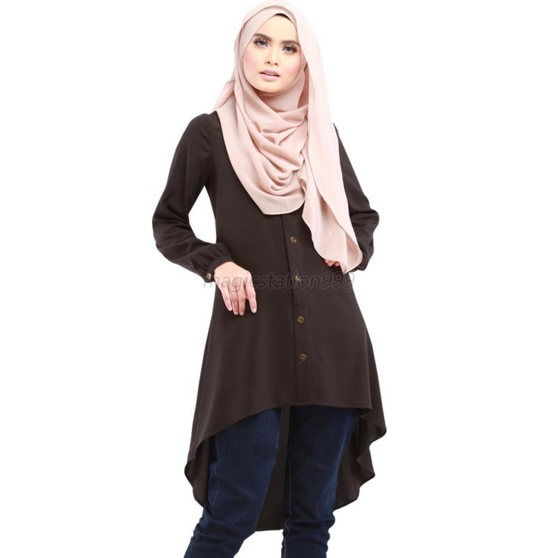 Muslim women ladies long sleeve shirt tops knee length Women s long sleeve shirt dress