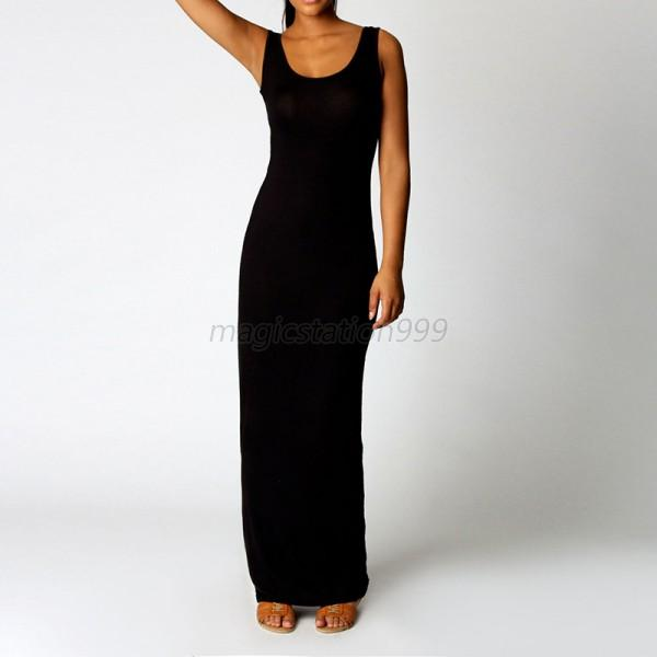 Sans-Manche-Bodycon-Long-Souple-Robe-party-formal-ball-Soiree-Dress-Moulante