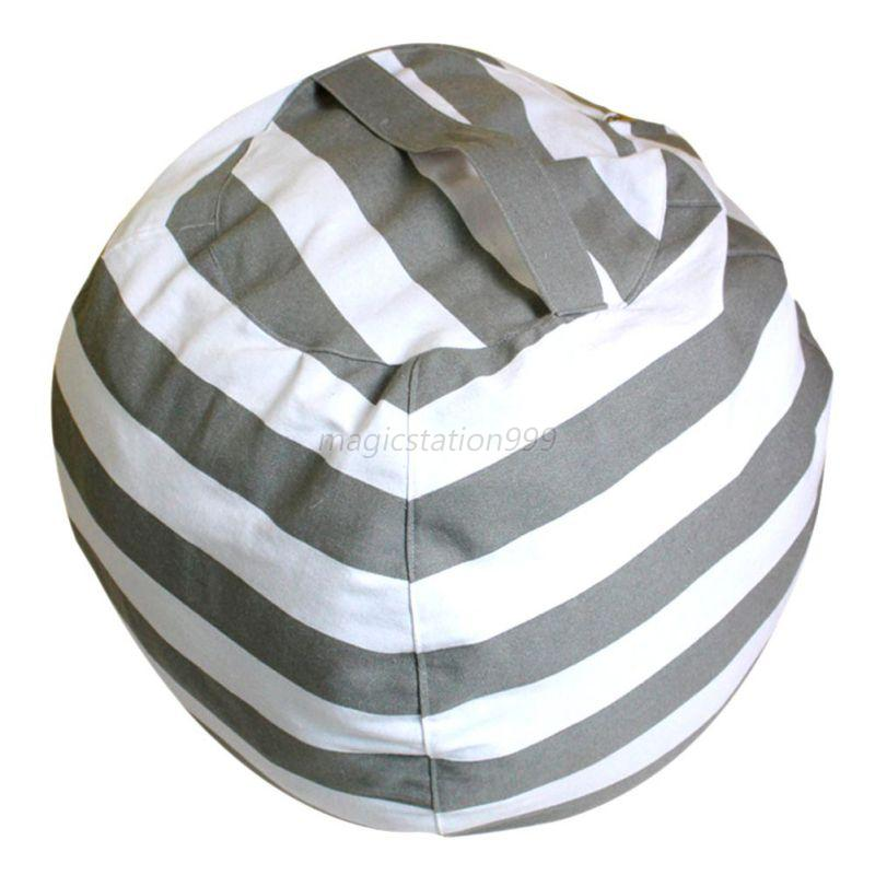 kids stuffed animal plush toy storage bean bag soft pouch stripe fabric chair us ebay. Black Bedroom Furniture Sets. Home Design Ideas