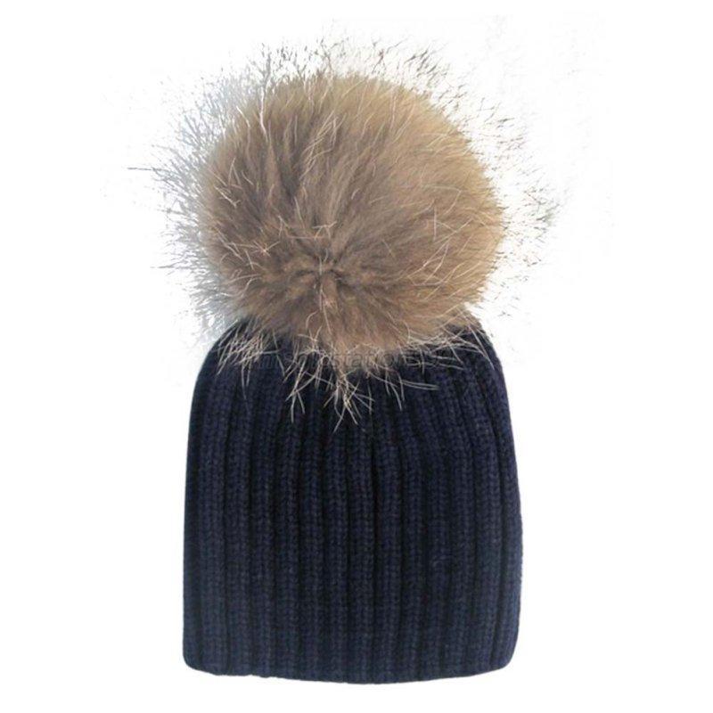 Toddle-Winter-Knit-Crochet-Ski-Warm-Cap-Hat-Warm-Child-Baby-Raccoon-Fur-Ball-Hat