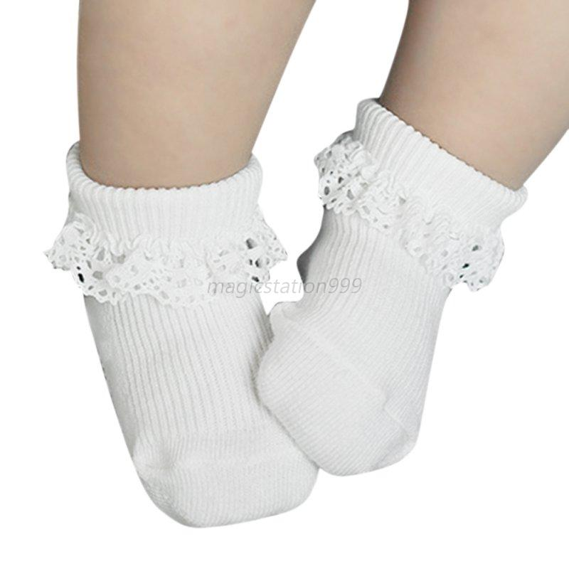 Toddler Newborn Baby Girl Socks Lace Ruffle Trim antiskid