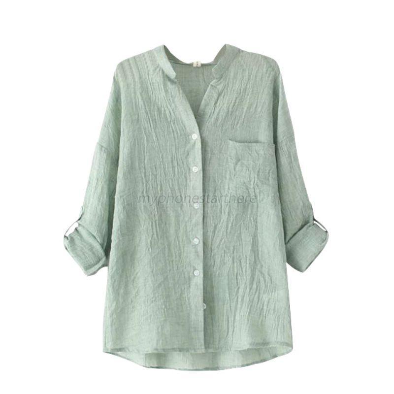 Chic Women Sheer Cotton Casual Blouse Long Sleeve Linen