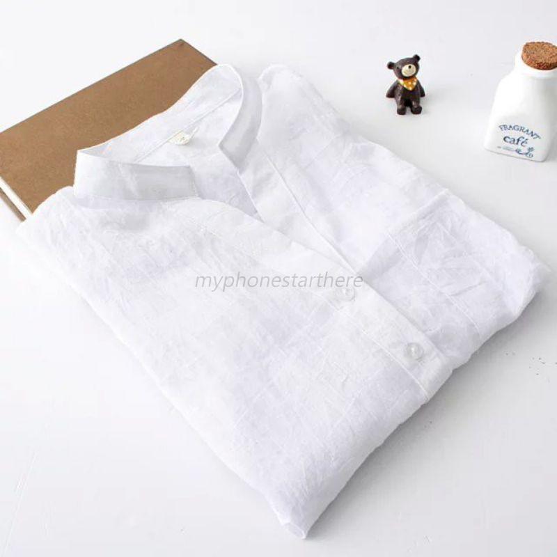Chic women sheer cotton casual blouse long sleeve linen for Linen women s shirt