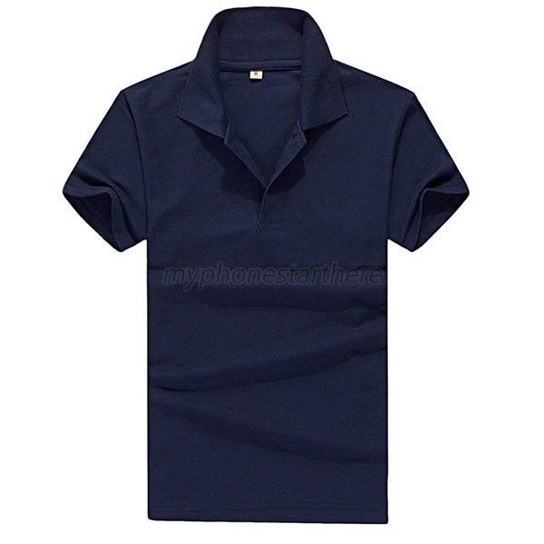 Fashion Mens Plain Polo Shirt Short Sleeve Solid Color