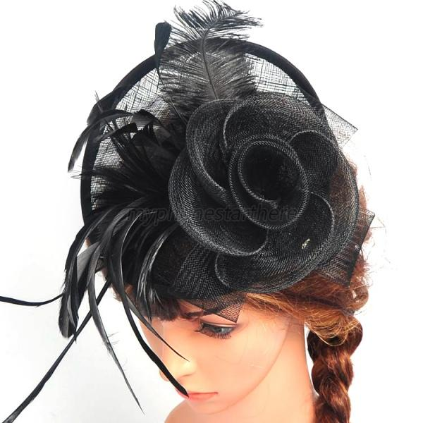 Black Flower Fascinator Hat: Fashion Women Flower Fascinator Hat Clip Hair Accessory