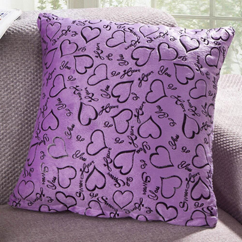 throw pillow case 40 x 40cm sofa home bed decor cushion cover square heart m25 ebay. Black Bedroom Furniture Sets. Home Design Ideas