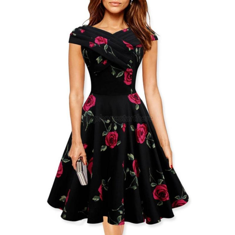 Summer women short sleeve floral dress party cocktail for Cocktail xxl
