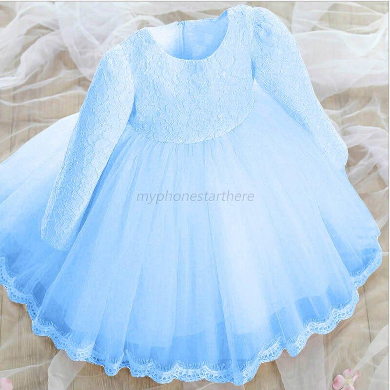 Toddler kids girls long sleeve flower dress pageant for Wedding dresses for baby girls
