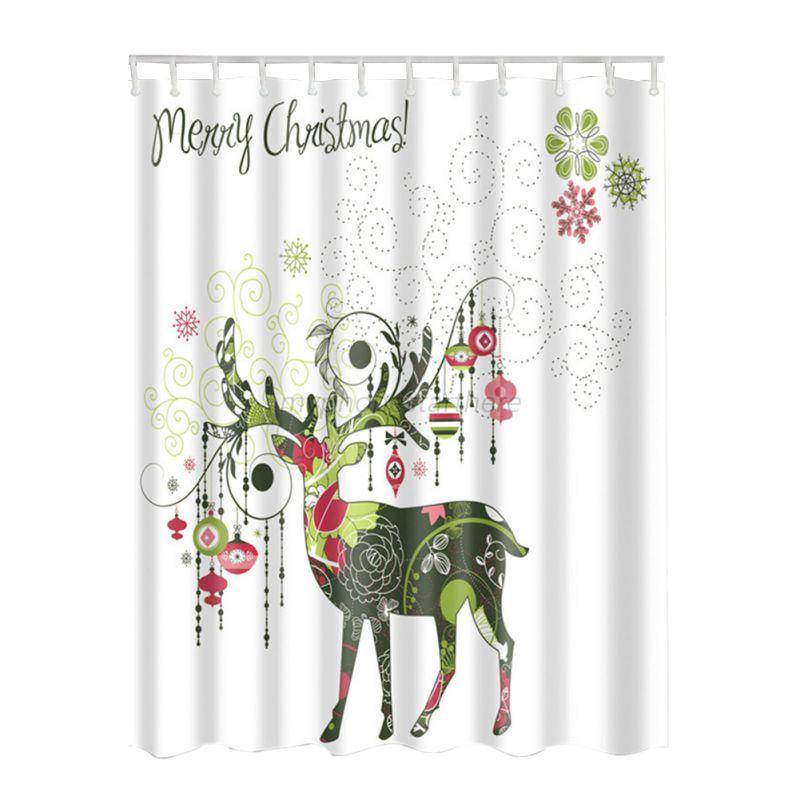 Waterproof Bathroom Fabric Shower Curtain Christmas Snowman Santa With 12 Hooks Ebay