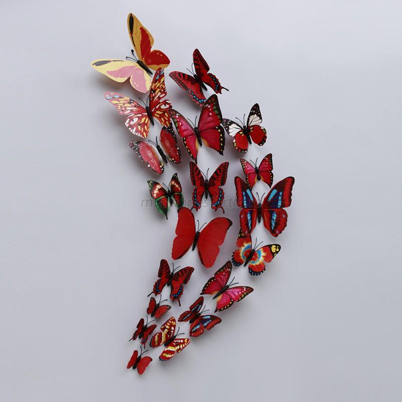 12pcs set 3d butterfly wall stickers decal art design kids for 3d wall butterfly decoration