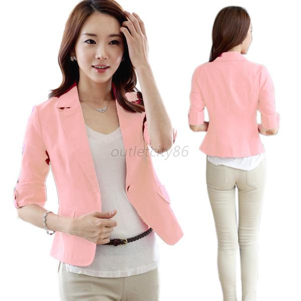 S-XXL Women Cozy 3/4 Sleeve slim OL Suit Blazer Office ...