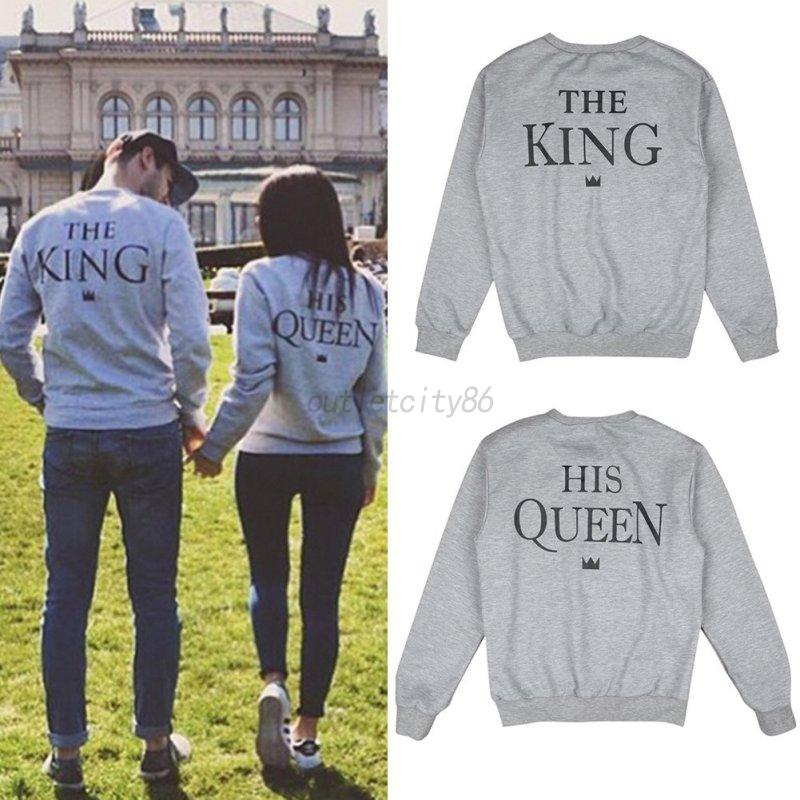 king and queen print couple hoodie sweatshirts pullover. Black Bedroom Furniture Sets. Home Design Ideas