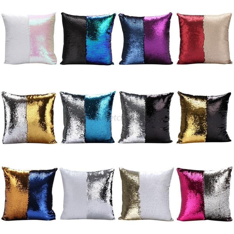 Cushion Covers Throw Pillow Cases Mermaid Cover Glitter Sequins Home Sofa Car eBay