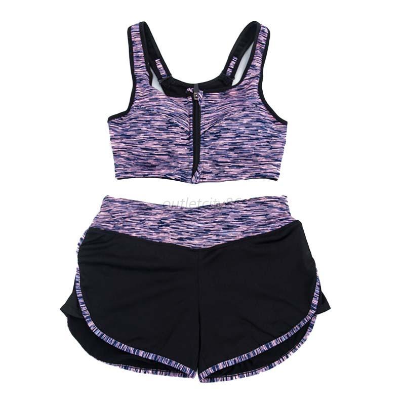 2Pcs Set Women Gym Fitness Yoga Sports Bra Tank Tops
