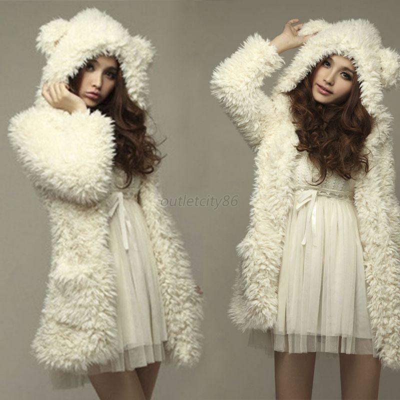 winter women girl loose fluffy bear ear hooded jacket warm. Black Bedroom Furniture Sets. Home Design Ideas