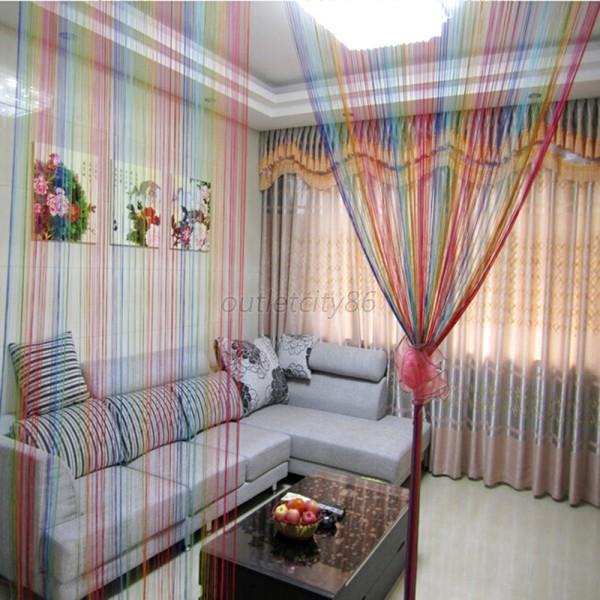 HOT Window Curtain Panel Room Divider Curtain String Line Rainbow