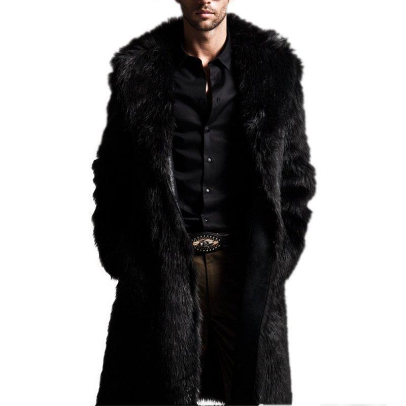 Fashion Men Warm Faux Fur Coat Parka Outerwear Long Jacket Winter Black Overcoat