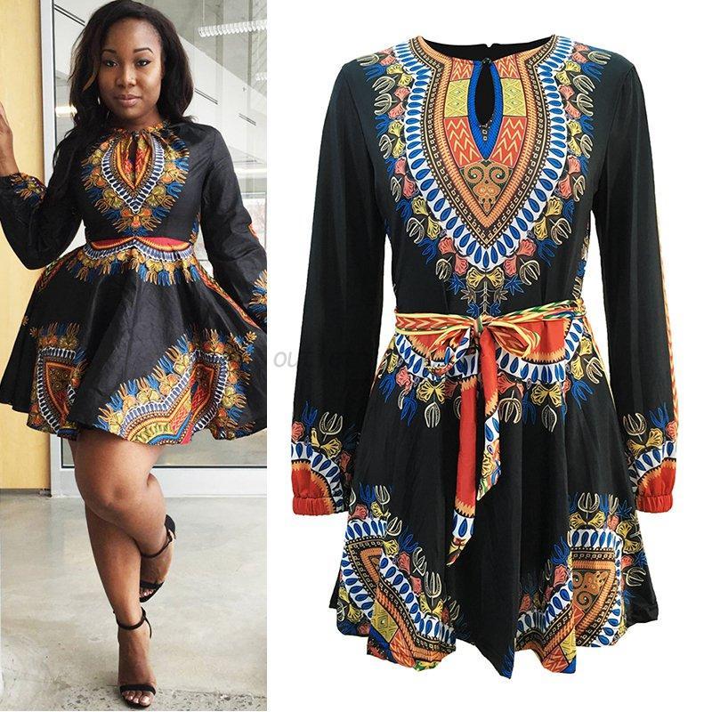Women Stylish Sexy African Print Dress Long Sleeve Autumn