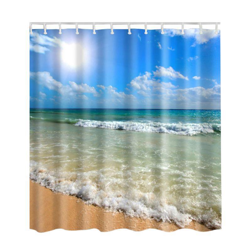Ocean Sea Beach Shell Print Waterproof Bathroom Fabric Shower Curtain With Hooks