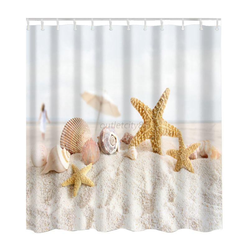 Ocean Sea Beach Shell Print Waterproof Bathroom Fabric