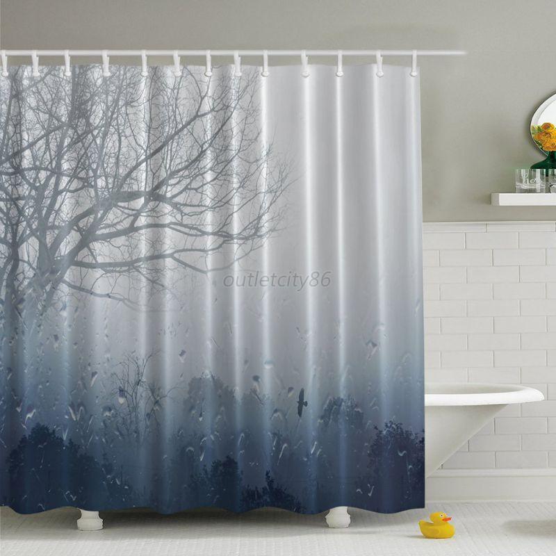 Waterproof Fabricbathroom Shower Curtain Panel Sheer Decor With 12 Hook Bath Set