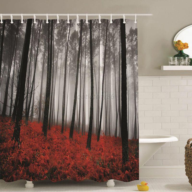 Waterproof fabricbathroom shower curtain panel sheer decor for Bathroom decor panels