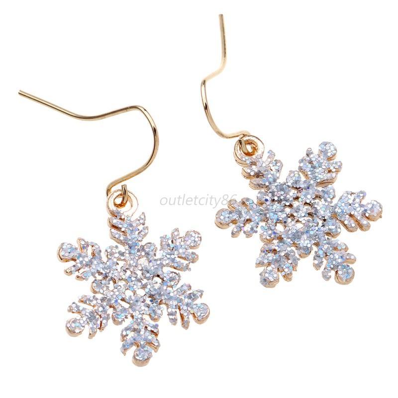 Women Girls Crystal Christmas Snowflake Earrings Drop Dangle Party Earrings
