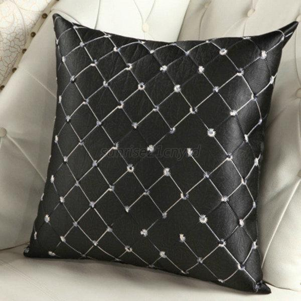 Home sofa bed office decorative plaid throw pillow case for Decorative bed pillow case