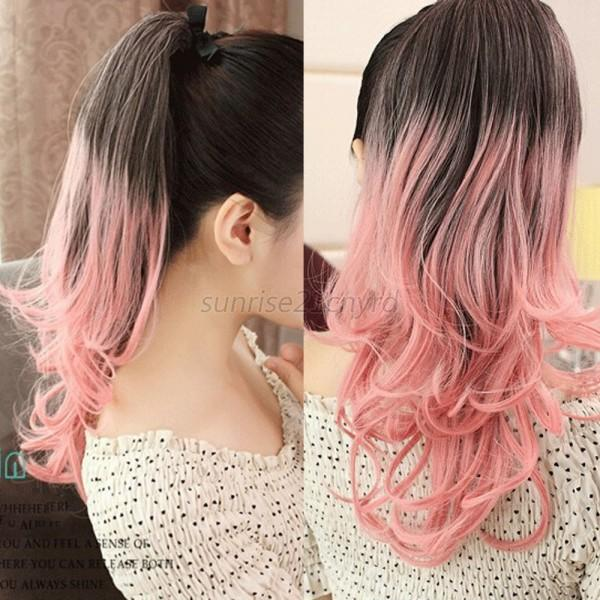 Women Girl Ombre Mix Color Long Wavy Curly Ponytail Hair Extension