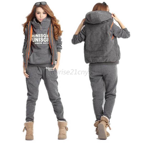 Fashion Women Autumn Winter Coat+Vest+Pants Suit Tracksuit Sports Hoodie Set U46 | eBay