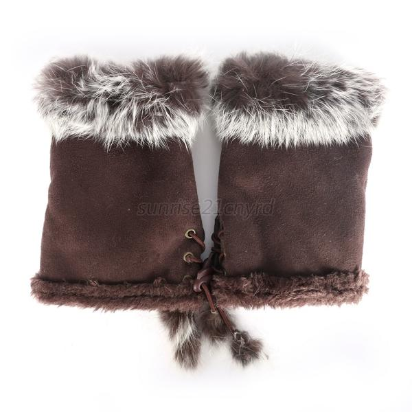 Winter-Women-Ladies-Faux-Fur-Warm-Fingerless-Gloves-Short-Warmer-Mittens-Wrist