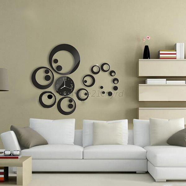 New circles 3d modern mirror wall clock watches sticker for 3d acrylic mirror wall sticker clock decoration decor