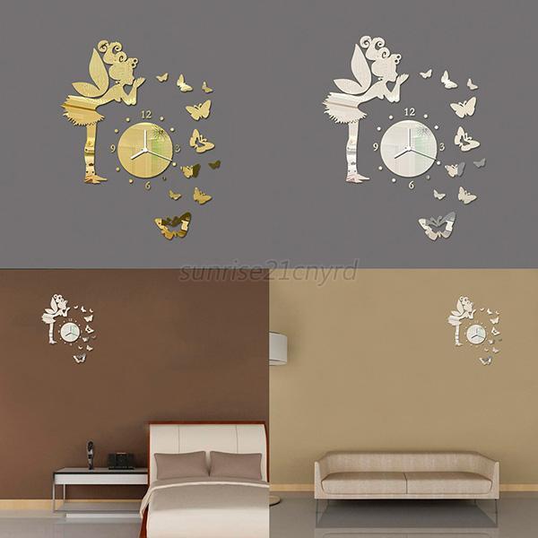 Butterfly Mirror Wall Decoration : Butterfly fairy clock d art mirror wall sticker kid room