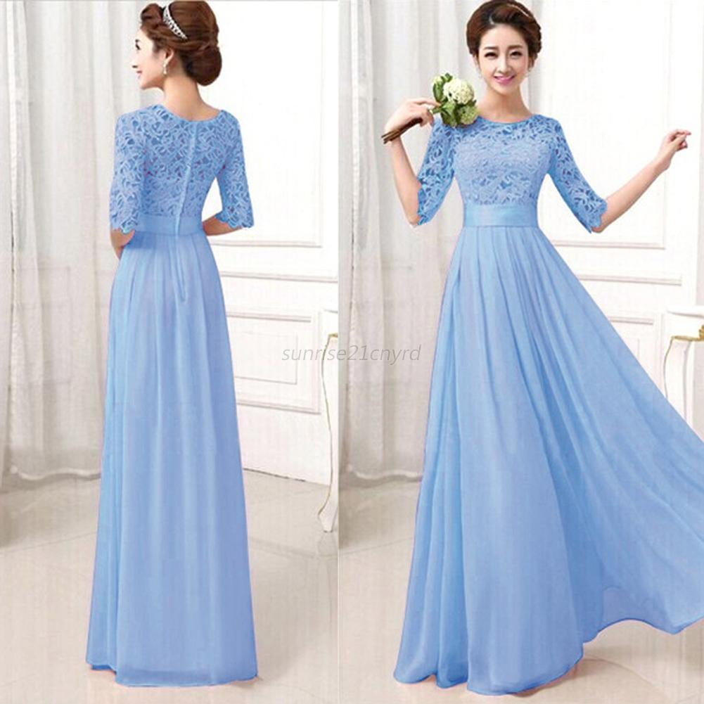 Womens lady chiffon dress lace long maxi evening cocktail for Cocktail xxl