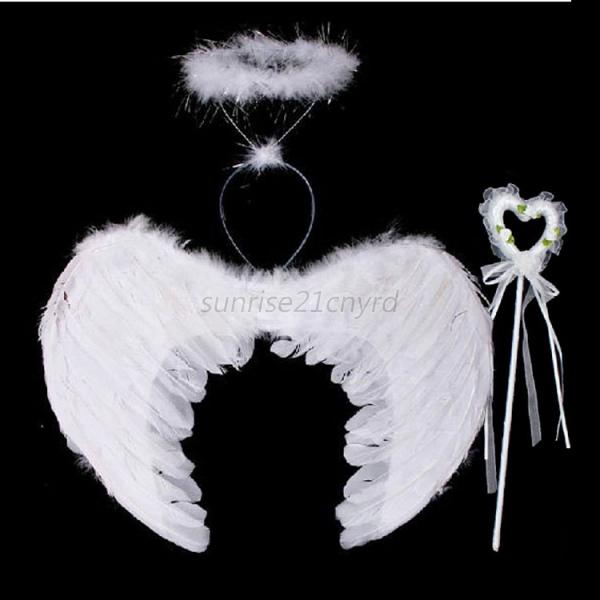 AU-Feather-Angel-Wings-Costume-with-Wand-Halo-  sc 1 st  eBay & AU Feather Angel Wings Costume with Wand Halo Adult Kids Halloween ...