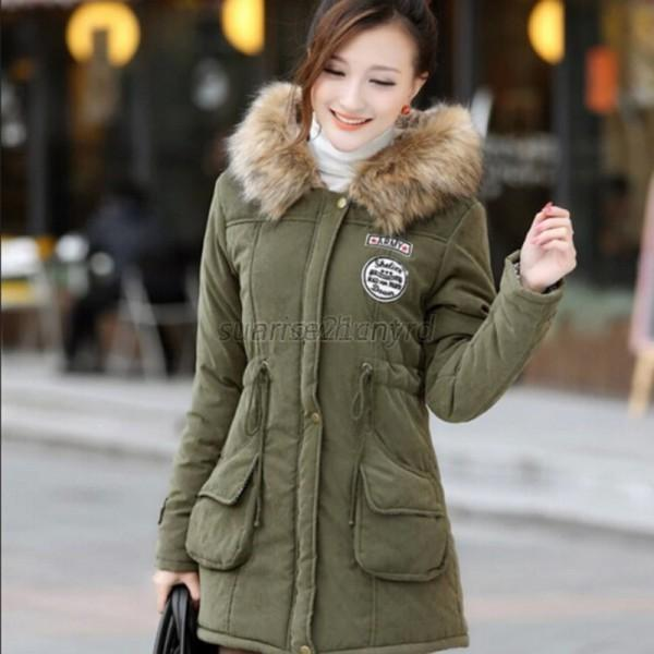 Women Winter Coat Hooded Jacket Slim Long Parka Outwear Warm Coat ...