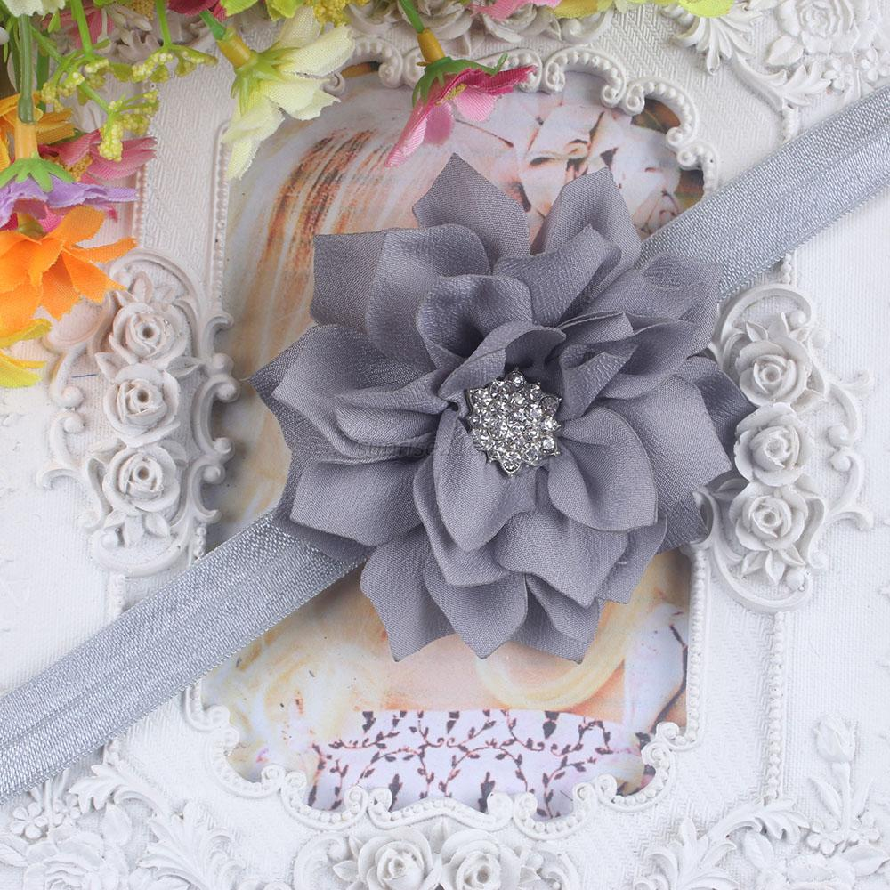 Black Flower Bow With Diamond: Bling Diamond Flower Baby Girl Infant Toddler Headband