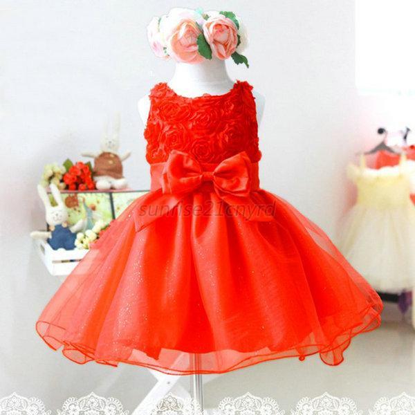 Flower Baby Girls Princess Bow Dress Toddler Wedding