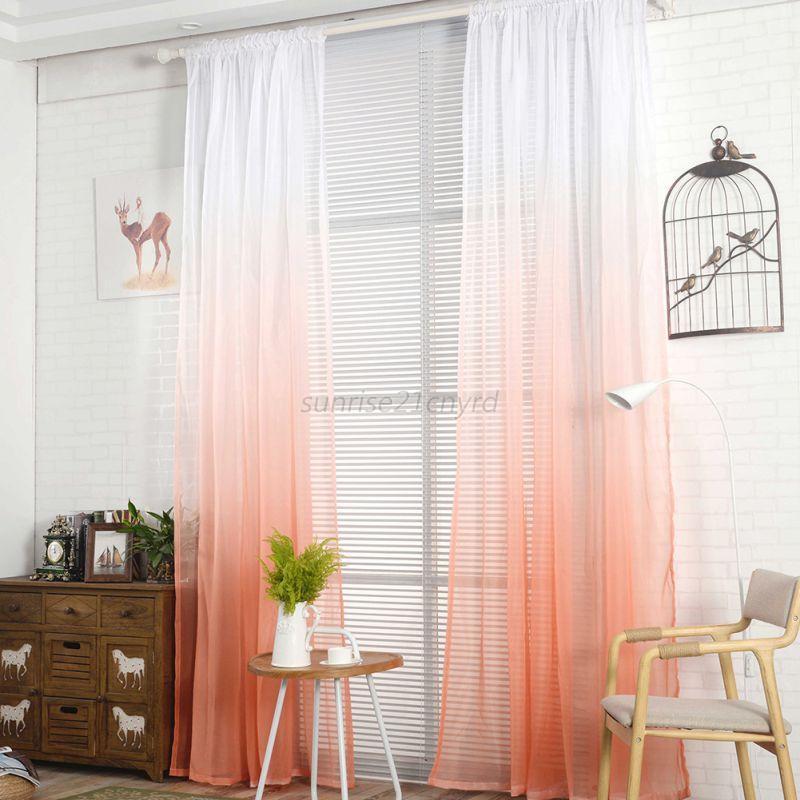 Gradient Color Valance Tulle Voile Door Window Curtain