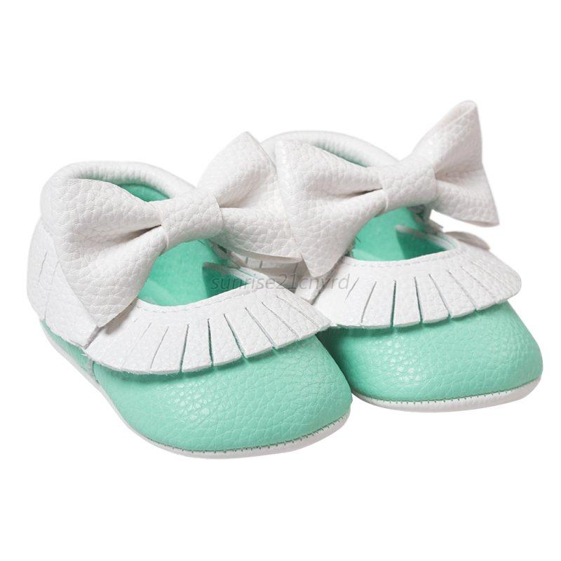 baby soft sole pu leather bow shoes slip on toddler