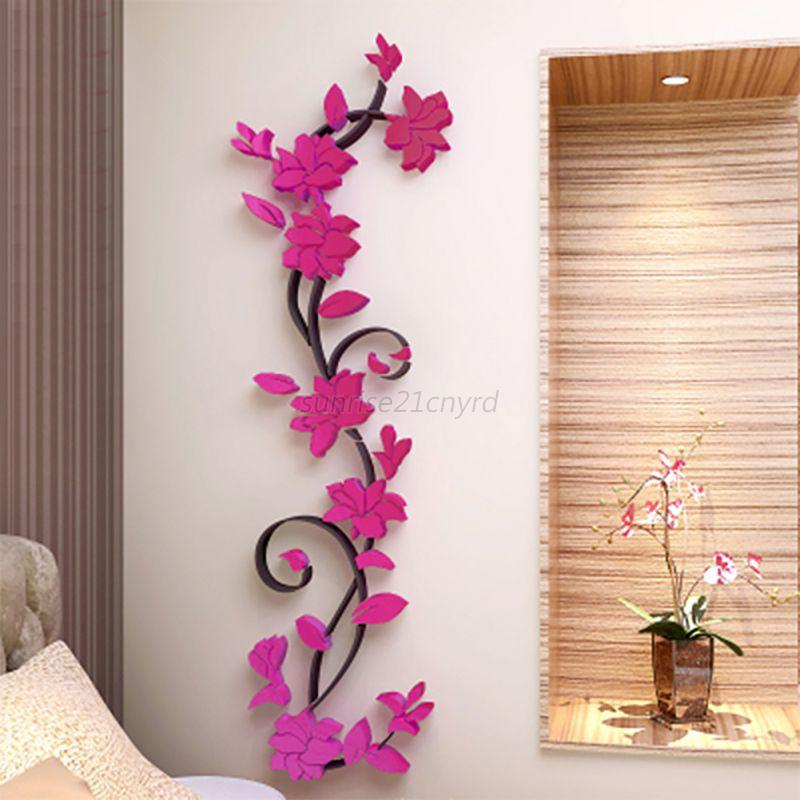 3d removable flowers romantic heart wall sticker home room vinyl decor diy decal ebay - Stickers on the wall decoration ...