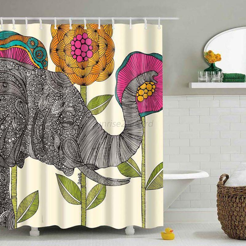 Waterproof Fabric 3d Print Shower Curtain Elephant Bathroom Decor