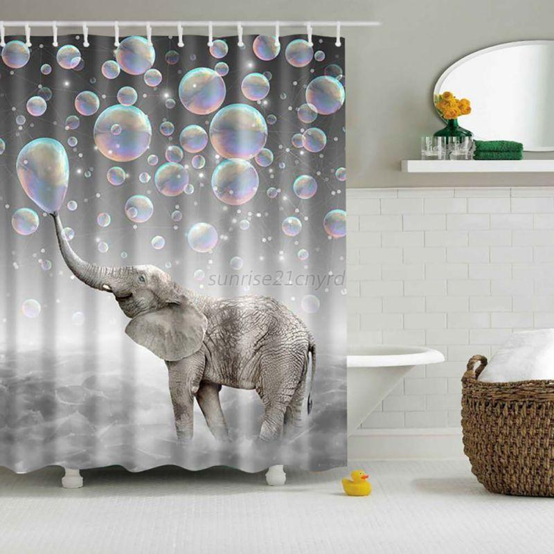 Bon Waterproof Fabric 3D Print Shower Curtain Elephant Bathroom