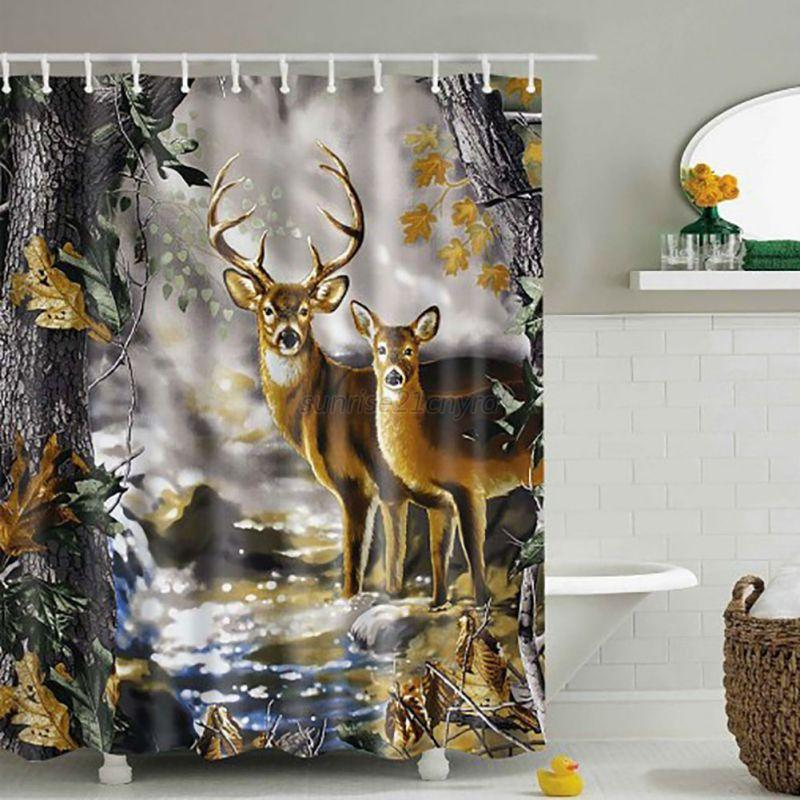 Waterproof Fabric 3D Print Shower Curtain Elephant Bathroom Decor ...