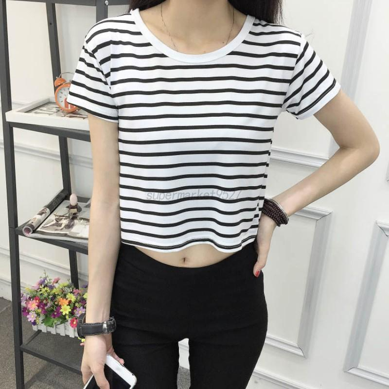 Women Fashion Striped Crop Top Short Sleeve Loose Casual T ...
